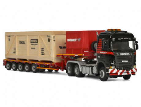 WSI Mammoet SCANIA R6 HIGHLINE 6X6 + 5 AXLE LOW LOADER + WOODEN BOX